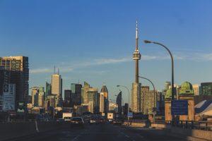 Highway view of Toronto city